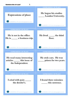 Expressions of place_flash cards