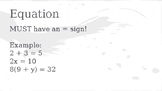 Expressions vs Equations