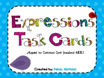 Expressions with Exponents Task Cards and Recording Sheets CCS 6.EE.1