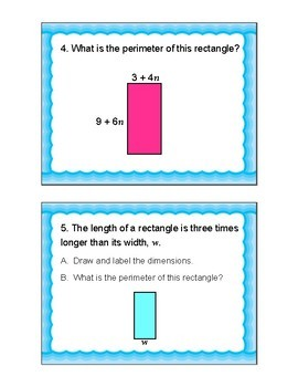 Expressions with Geometry Task Cards (CCSS 6.EE.A3; 6.EE.A2)