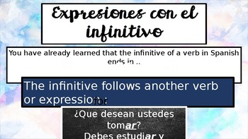 Expressions with Infinitive Verbs