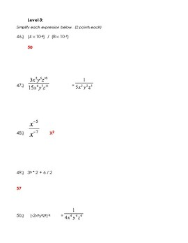 Expressions with Integers, Exponents, Roots - Teacher Test with Review Sheet