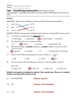 Expressions with Integers, Exponents, Roots - Teacher Test