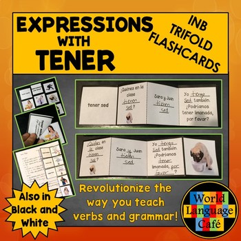 Spanish Expressions with Tener Interactive Notebook Trifold Flashcards