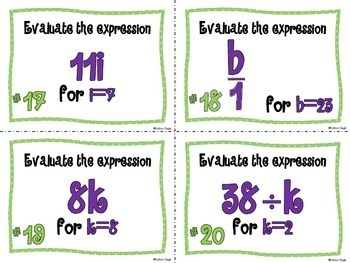 Expressions with Variables Task Cards (Multiply & Divide)