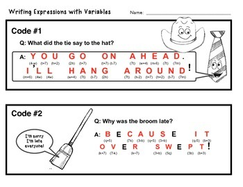 Expressions with Variables Task Cards - w/ Fun Joke Code answer document