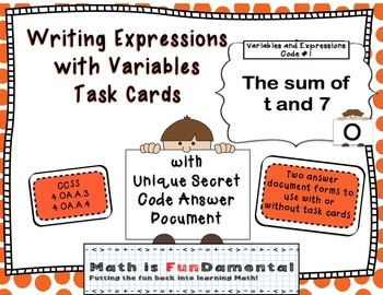 Expressions with Variables Task Cards - w/ Fun Joke Code a