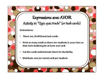 Expressions with avoir, quiz quiz trade, fan & pick in French
