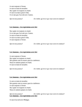 Expressions with être French verb Jumeaux Speaking activity