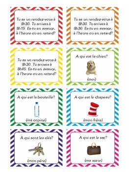 Expressions with être, task cards, quiz quiz trade, speaking practice in French
