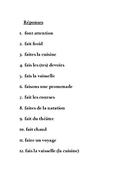 Expressions with faire, partner writing practice in French