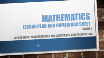 Grade 8 Expressions with variables and constants, and polynomials