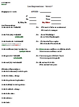 Expressions with verb Avoir