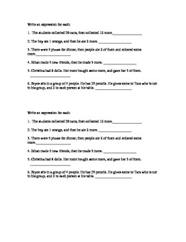 Expressions word problems MJ