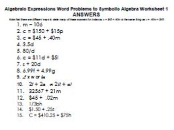 Expressions word problems to convert to numeric expressions & Task Cards