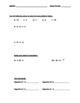 Expressions/Equations/Inequalities Test/Study Guide