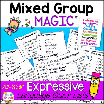 Expressive Language All-Year Quick Lists for Speech Therapy Mixed Groups