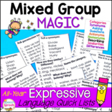 Expressive Language Lists for Speech Therapy Mixed Groups