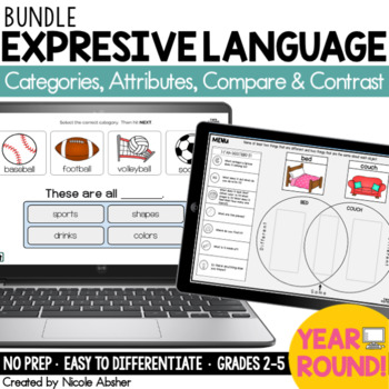 Expressive Language BOOM CARDS™ Bundle for Speech Therapy & Distance Learning