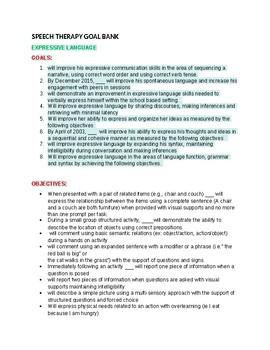 Expressive Language Goals & Objectives