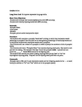 Expressive Language autumn lesson plans