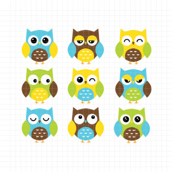 Expressive Owls-Digital Clipart (LES.CL02A)
