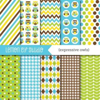 Expressive Owls-Digital Paper (LES.DP02A)