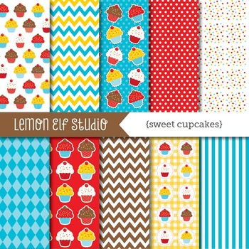 Sweet Cupcakes-Digital Paper (LES.DP04A)