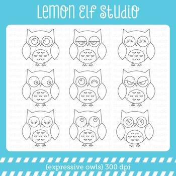 Expressive Owls-Digital Stamp (LES.DS02)