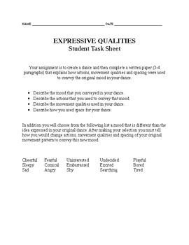 Expressive Qualities Introductory Assignment