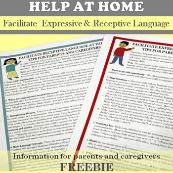 Parent Handouts: Facilitate Expressive and Receptive Language at Home