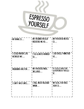 Expresso Yourself Getting to Know You Activity