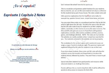 Exprésate 1 Capítulo 2 Notes