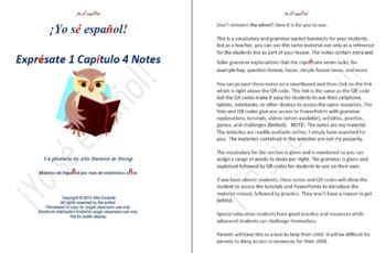 Exprésate 1 Capítulo 4 Notes