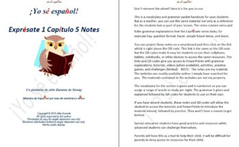 Exprésate 1 Capítulo 5 Notes