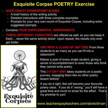 Exquisite Corpse Creative Writing Poetry Engaging Activity: GREAT 4 SUBSTITUTES!