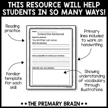 Extend A Sentence Writing Intervention Activity