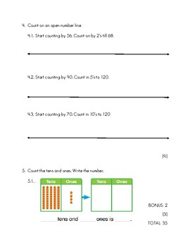 Extend counting sequence and place value test FREEBIE