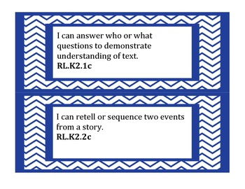 "Extended Common Core Standards ""I Can Statements"" k-2"