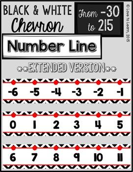 {Extended} Number Line (-30 - 215) - Black & White Chevron