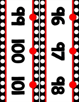 {Extended} Number Line (-30 - 215) - Black & White Polka Dot