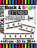 {Extended} Number Line (-30 - 215) - Bright & Black Vertical Stripes