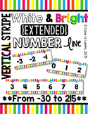 {Extended} Number Line (-30 - 215) - Bright & White Vertical Stripes