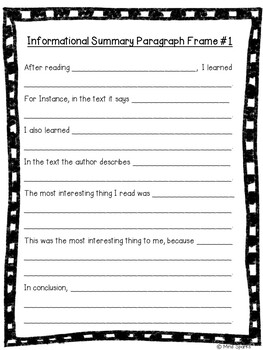 Extended Paragraph Frames (summarizing edition)