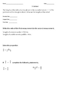 Extended Ratio and Properties of Proportions Exit Card
