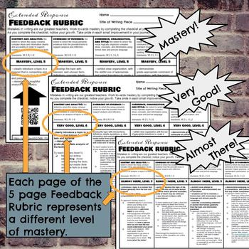 Extended Response Feedback Rubric with Checklists and QR Codes