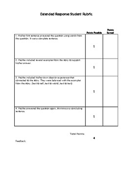 Extended Response Graphic Organizer with Rubric