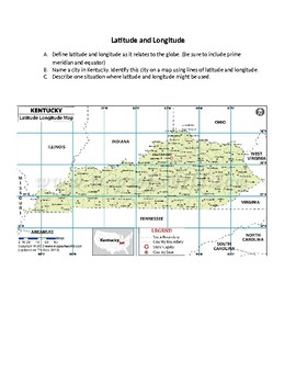 Extended Response Kentucky Latitude and Longitude