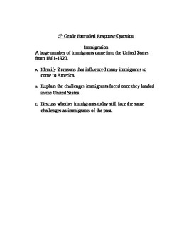 Extended Response Question: Immigration
