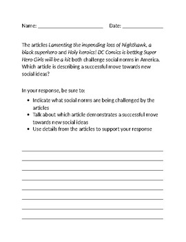Extended Response Question on Social Norms with Comic Book Articles